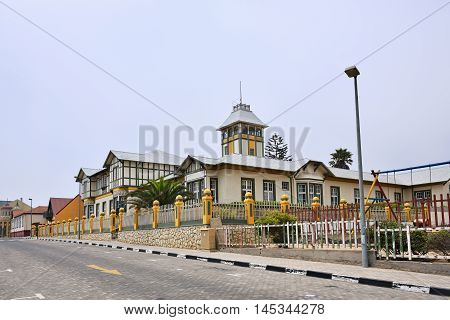 SWAKOPMUND NAMIBIA - JAN 31 2016: Typical german fachwerk architecture in Swakopmund. City was founded in 1892 as the main harbour of German South West Africa.