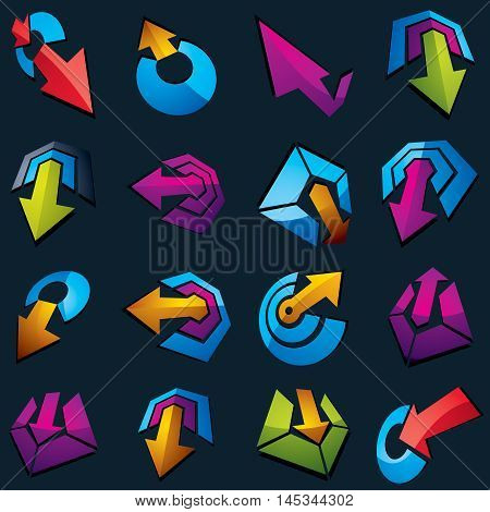 Vector 3D Simple Navigation Pictograms Collection. Set Of Colorful Corporate Abstract Design Element