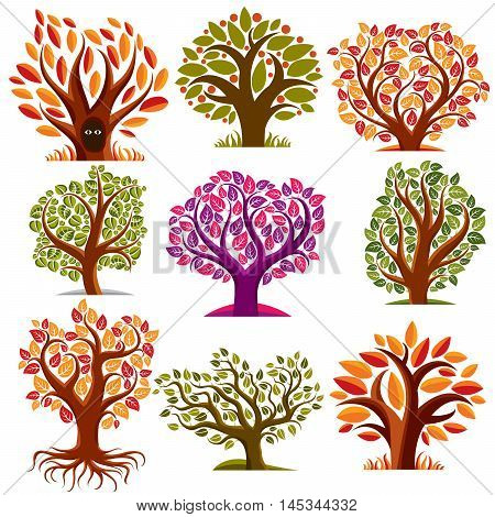 Set Of Stylized Vector Trees With Green And Orange Leaves, Ecology Art Decorative Symbols Collection