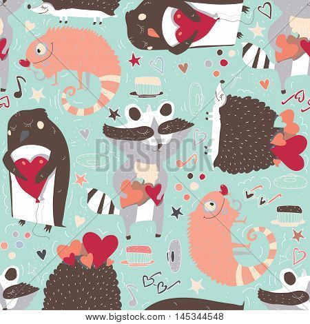 Seamless vector pattern with cute animals such as raccoon iguana and hedgehog and penguin with hearts decorated with doodle stars hearts and hand drawn decor. Cute illustration on light blue