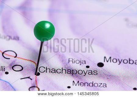 Chachapoyas pinned on a map of Peru