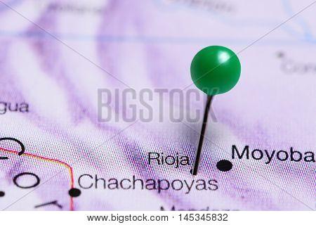 Rioja pinned on a map of Peru