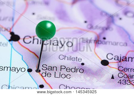San Pedro de Lloc pinned on a map of Peru