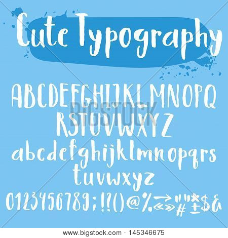 Cute typogrpahy letters set. Uppercase and lowercase characters numbers and special symbols.