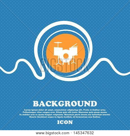 Drum Icon Sign. Blue And White Abstract Background Flecked With Space For Text And Your Design. Vect