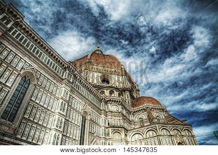 cloudy sky over Santa Maria del Fiore cathedral Florence