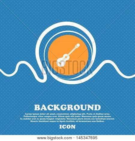 Acoustic Guitar Icon Sign. Blue And White Abstract Background Flecked With Space For Text And Your D
