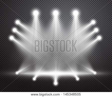 realistic stage lighting vector background group of bright projectors isolated on checkered backdrop special bright special lighting