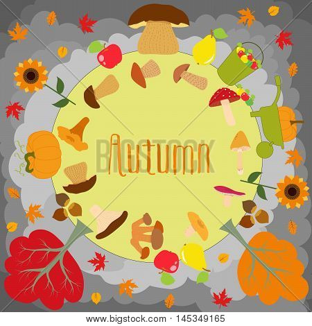 Autumn round with cute leaves, mushrooms, pumpkin and other autumnal design elements. Autumn pattern, background. Vector illustration.