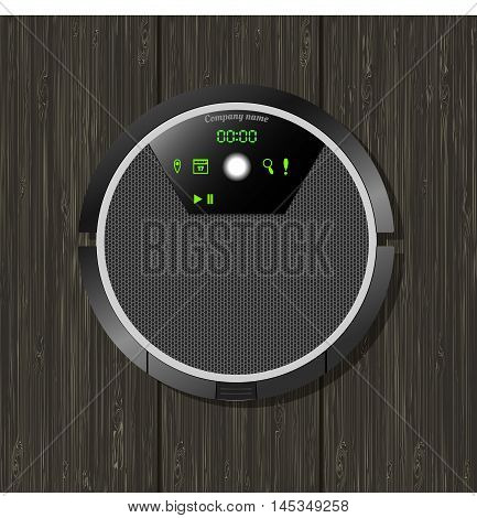 vector illustration of a robotic vacuum cleaner with electronic board on wooden texture, view from above