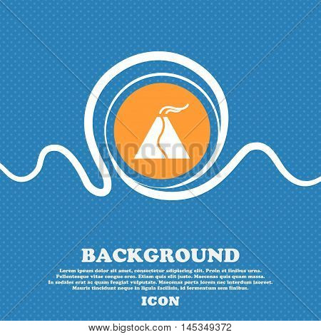 Active Erupting Volcano Icon Sign. Blue And White Abstract Background Flecked With Space For Text An