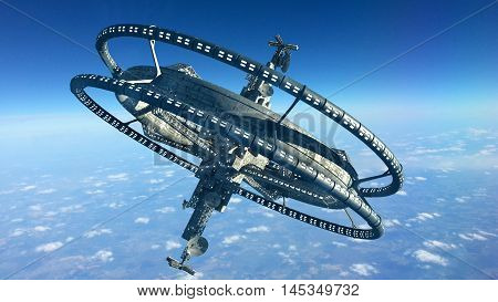 3d Illustration of a space station with multiple gravitational wheels in Earth's high atmosphere for games, futuristic exploration or science fiction backgrounds.
