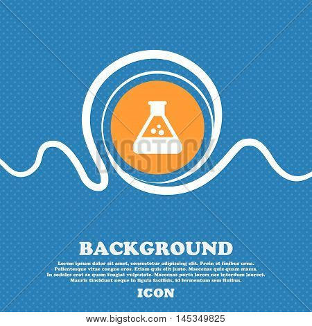 Chemistry Icon Sign. Blue And White Abstract Background Flecked With Space For Text And Your Design.