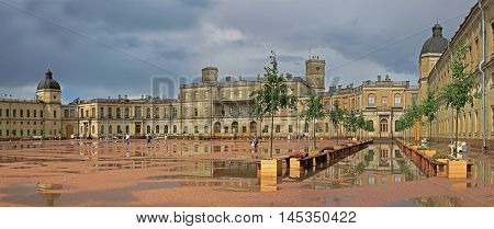Gatchina Russia - 12 July 2016: The Great Gatchina Palace. Residence of Russian Tsars in the suburbs of St. Petersburg