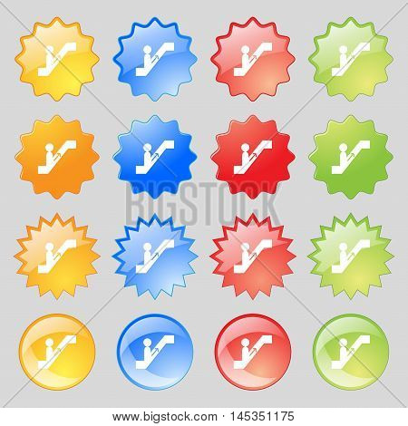 Escalator Icon Sign. Big Set Of 16 Colorful Modern Buttons For Your Design. Vector