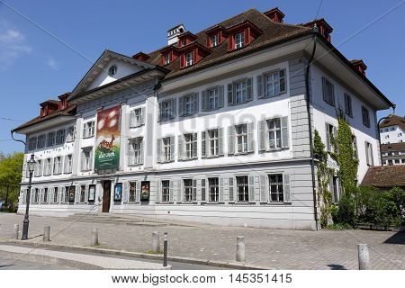 LUCERNE SWITZERLAND - MAY 08 2016: Museum of Natural History building is from 1976 that is a replica of orphanage by Jakob Singer originaly built about 200 meters far from present site in 1808/11