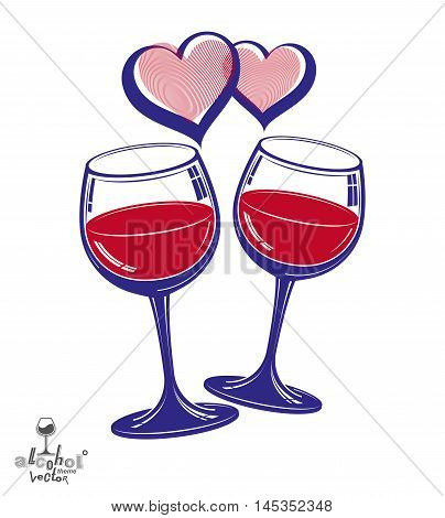 Valentine's day theme vector illustration. Two wineglasses with two loving hearts romantic rendezvous concept lifestyle and leisure.