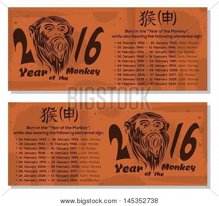 2016 - year of the monkey. Chinese hieroglyph - monkey. The image monkey on grunge retro vintage paper texture with spots. Vector flyers template.