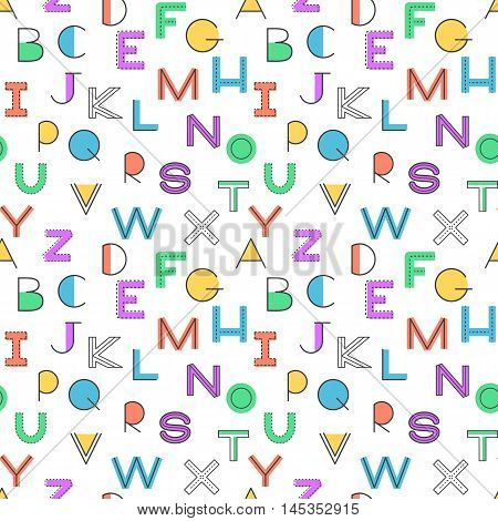 Seamless pattern alphabet background in bright colors. Vector illustration with randomly distributed english letters. Seamless pattern can be used for wallpaper textiles prints fabric gift wrap surface textures for design.