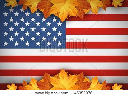 American Flag. Banner. Autumn leaves background Vec