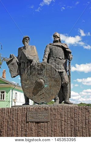 Staraya Ladoga (Old Ladoga) Russia - 17 July 2016: Monument to Prince Rurik and Oleg of Novgorod (Oleg the Seer). They are the founders of the Russian state in the 9th century.