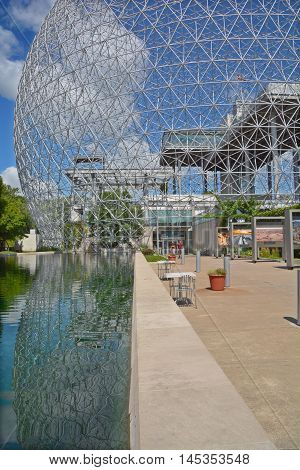 MONTREAL-CANADA AUGUST 17 2016: The Biosphere is a museum in Montreal dedicated to the environment. Located at Parc Jean-Drapeau in the former pavilion of the United States