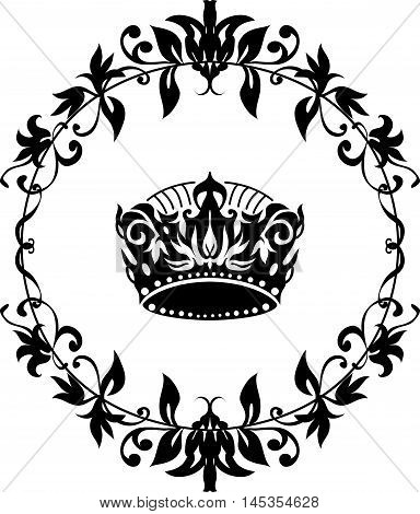 Vector black crown icon isolated on white in floral round frame. Elegant style design