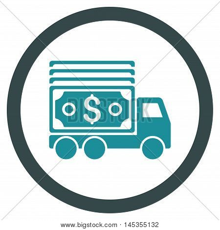 Cash Lorry vector bicolor rounded icon. Image style is a flat icon symbol inside a circle, soft blue colors, white background.