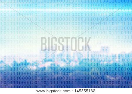Binary code on blurred cityscape background.