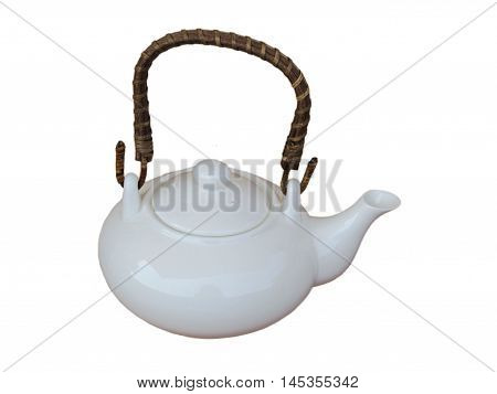White teapot isolated on white background with wooden handle