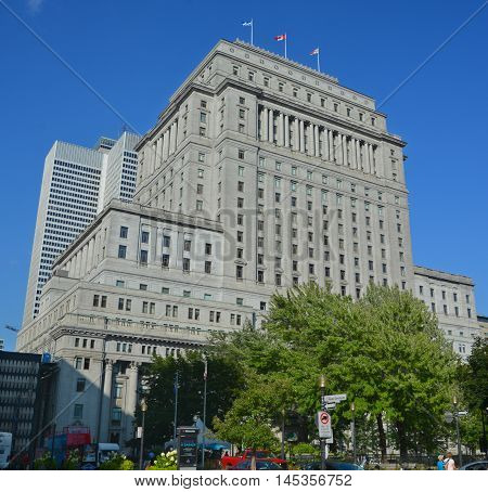 MONTREAL QUEBEC CANADA AUGUST 17 2016: Sunlife building in Montreal canada.The Sun Life Building is an historic office building at 1155 Metcalfe Street.