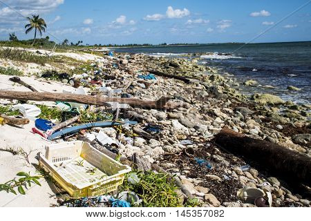 Mexico Coastline Pollution Problem with plastic litter