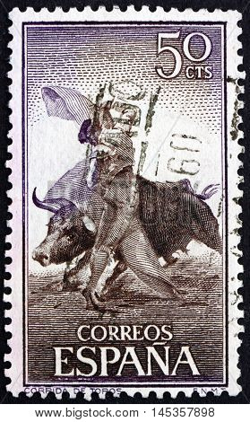 SPAIN - CIRCA 1960: a stamp printed in the Spain shows Bullfighting with Cape circa 1960