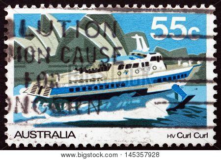 AUSTRALIA - CIRCA 1979: a stamp printed in the Australia shows Hydrofoil Curl Curl Riverboat Murray River circa 1979