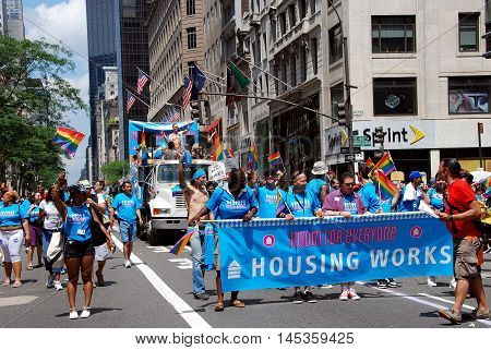 New York City - June 28 2009: Housing Works contingent marching in the 2009 Gay Pride Parade on Fifth Avenue