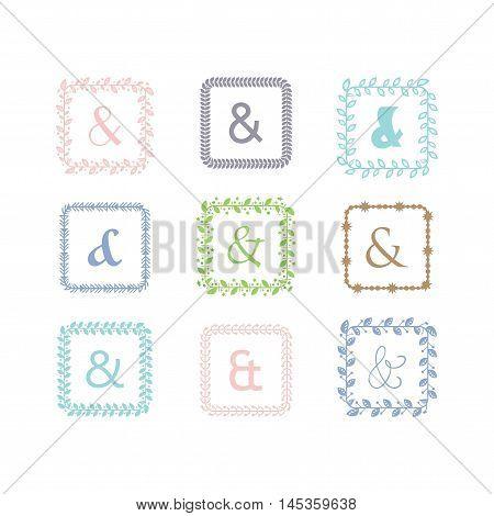 colorful ampersand square leaves border pattern emblems set on white background