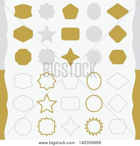 Matte gold and silver silhouette and outline basic shapes emblems icons set