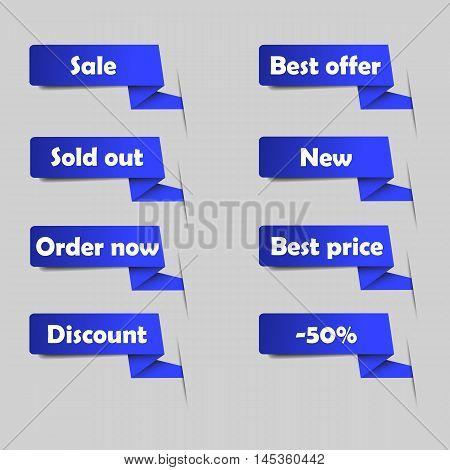 Blue sale tags for website. Set of vector announcement. Eshop labels.