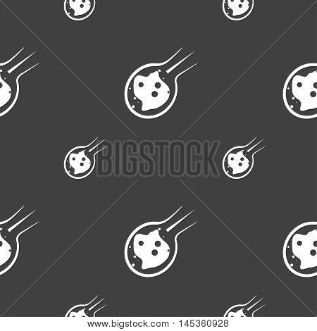 Flame Meteorite Icon Sign. Seamless Pattern On A Gray Background. Vector