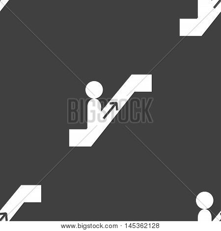 Escalator Icon Sign. Seamless Pattern On A Gray Background. Vector
