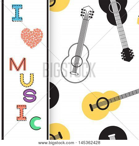 Music background poster template greeting card invitation design background. Guitars nots and musical symbols on white background. I love music card. Vector illustration.