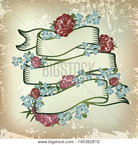 Vintage Floral Forget-me-not and Peony Flower Ribbon Copyspace
