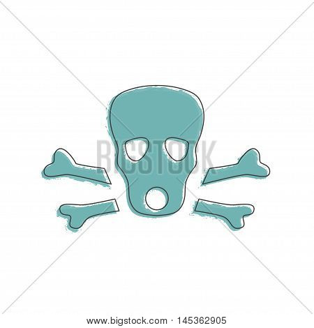 Ecology and Environment icon of skull for template website. Environmental protection and pollution gas-mask sign in thin line design. Vector illustration eps10