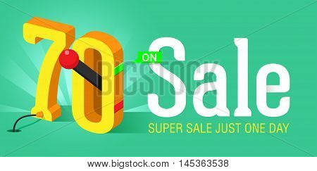 Super Sale banner with switch on off. Big sale. Sale poster. Super Sale just one day and special offer. 70% off.