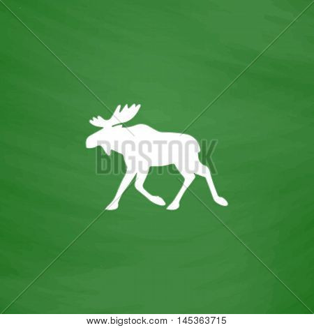 Moose Simple line vector button. Imitation draw with white chalk on blackboard. Flat Pictogram and School board background. Outine illustration icon