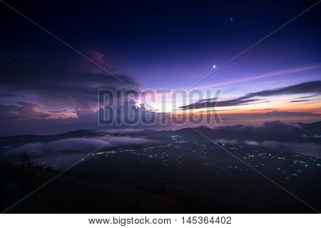 Sunrise over the valley with villages situated in caldera of old giant volcano. Bali, Indonesia