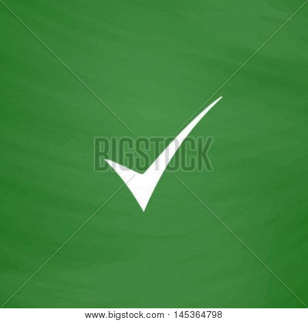confirm Simple line vector button. Imitation draw with white chalk on blackboard. Flat Pictogram and School board background. Outine illustration icon
