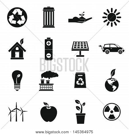 Ecology icons set in simple style. Environmental, recycling, renewable energy, nature elements set collection vector illustration