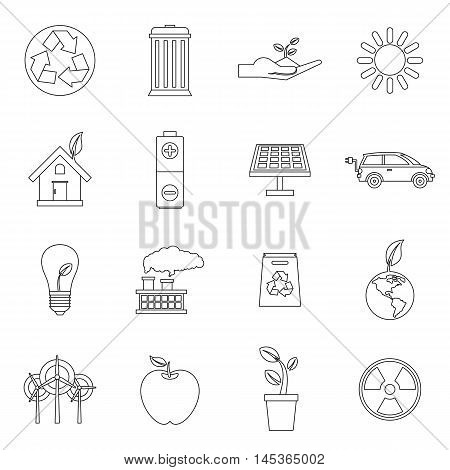 Ecology icons set in outline style. Environmental, recycling, renewable energy, nature elements set collection vector illustration