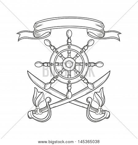 rudder sword ribbon cartoon pirate tattoo marine nautical icon. Black white isolated design. Vector illustration